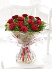 Long Stemmed Red Rose Handtied with Luxury Champagne