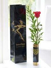 Single Kiss Rose Vase with Love Balloon